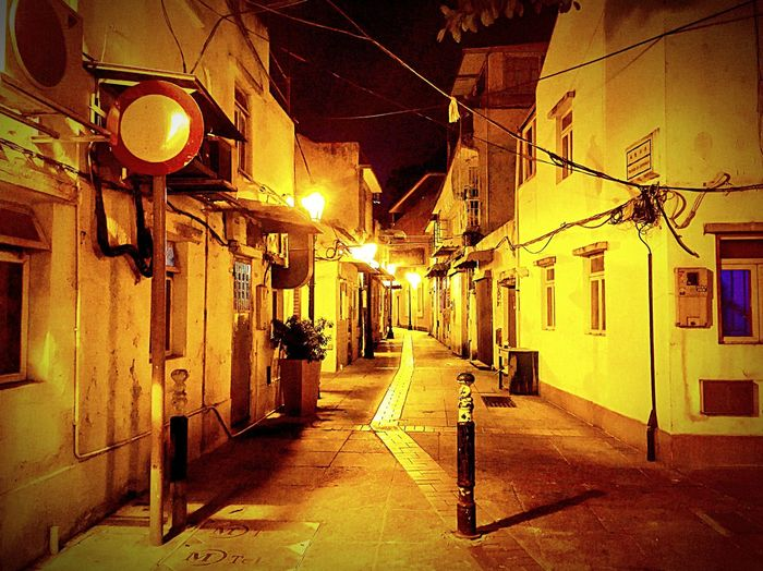 Architecture The Way Forward Illuminated Direction Built Structure Building Night Street