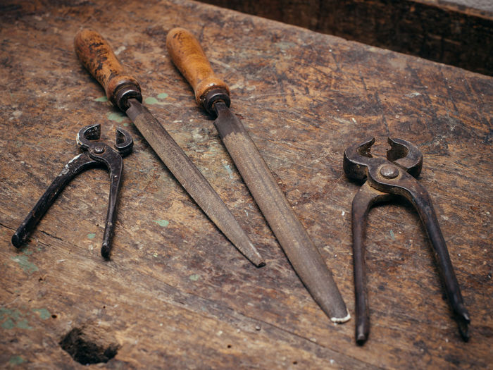 High angle view of tools on table