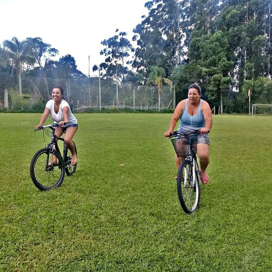 Two People Grass Togetherness Bicycle Full Length Cycling Day