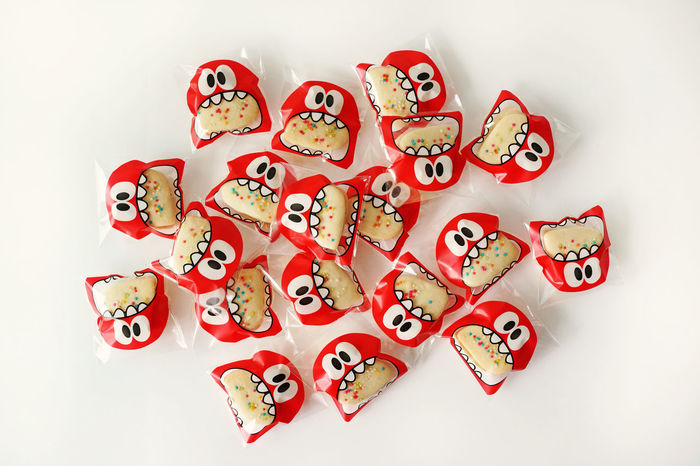 Cookies Funny Love Monster Red Wrap Bake Bakery Birhtday Close-up Cute Day Design Eye Kids Having Fun Mouth Open Package Packaging Plastic Sweet