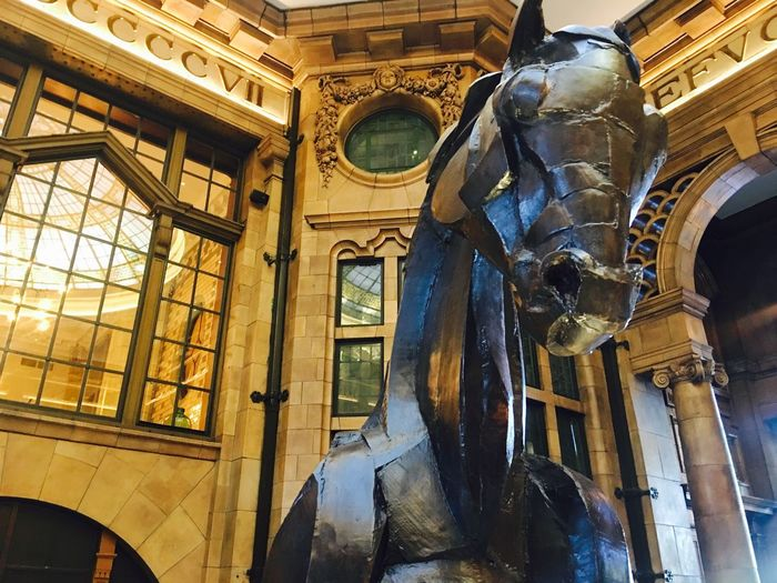 Principal Hotel Architecture Built Structure History Building Exterior No People Museum Low Angle View Indoors  Day Close-up Principal Hotel Manchester Manchester UK Reception Metal Sculpture Metal Horse Statue Imposing EyeEm Best Shots EyeEm Gallery