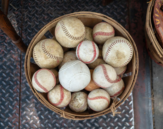 High angle view of balls in basket on table