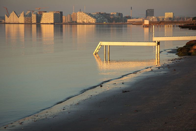 Brigde Skyline Aarhus Reflection Architecture Sea Sunrice Morning No People Canon600D Cityscape Beach Sand Sky Outdoors Building Exterior Water
