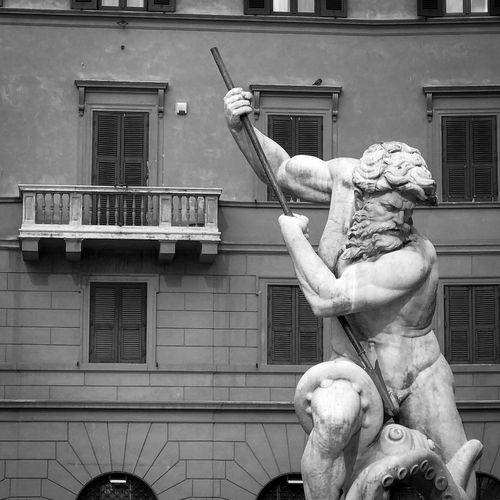 Fontana del Nettuno, Piazza Navona, Rome Rome Statue Neptune Neptune Fountain Piazza Navona Fountain Black & White