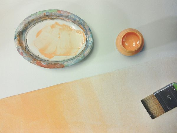 Painting Paint Brush Painting Tools Orange Color Diagonal Line Fresh Paint White Background Canvas Painting In Progress Gradient