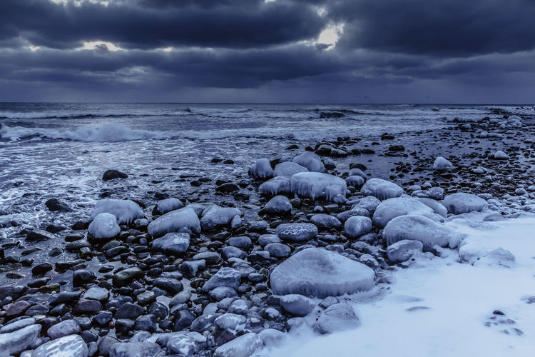 Before the winter storm in the Baltic Sea. Baltic Sea Sweden Beach Beauty In Nature Cloud - Sky Cold Temperature Horizon Over Water Ice Icy Rock In Water Land Nature No People Outdoors Pebble Rock Rock - Object Scenics - Nature Sea Sky Solid Tranquil Scene Tranquility Water Winter Öland
