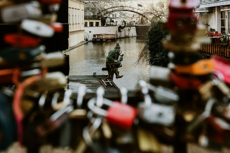Selective Focus Water No People Day Built Structure Nature Metal Outdoors Building Exterior Mode Of Transportation Connection Architecture Lock Padlock Love Protection Technology Focus On Background Transportation Canal Prague Prague Czech Republic