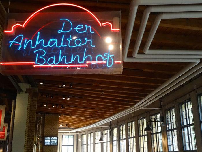 Berlin September 2016 Anhalter Bahnhof Bahnhof Capture Berlin Communication Deutsches Technikmuseum Illuminated Low Angle View Neon No People