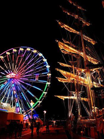HanseSail Rostock Sailing Ship Stadthafen Rostock Harbor Marina Night Light Big Wheel