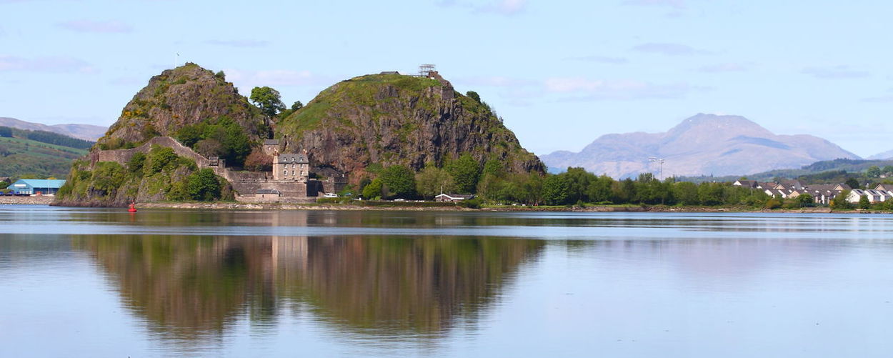 Dumbarton Rock Dumbarton Castle Ben Lomond Water Sky Reflection Mountain Waterfront Scenics - Nature Lake Beauty In Nature Nature Tree Tranquil Scene Mountain Range Tranquility No People Architecture Day Plant Built Structure Cloud - Sky Outdoors Mountain Peak