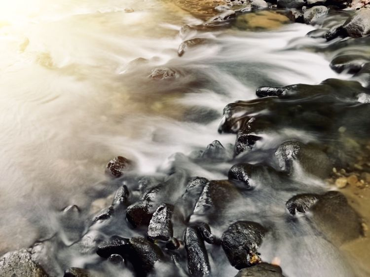 Stream Sunset Water Motion Nature No People Beauty In Nature High Angle View Rock Rock - Object Long Exposure Wave Outdoors Flowing Scenics - Nature