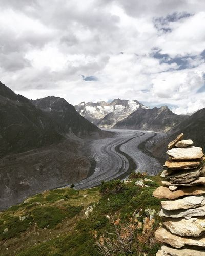 Walking In The Mountains Wallis Riederalp Aletschgletscher Beautiful Rock Snow Summer Amazing View Nature IPhoneography