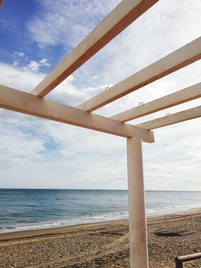 Beach Water Sea Beach Sand Horizon Architectural Column Sky Horizon Over Water Cloud - Sky Seascape Calm