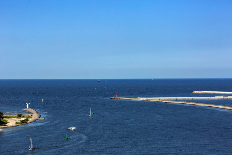 Baltic Sea Beauty In Nature Blue Clear Sky Copy Space Day High Angle View Horizon Horizon Over Water Mode Of Transportation Nature Nautical Vessel No People Outdoors Sailboat Scenics - Nature Sea Sky Tranquility Transportation Travel Water