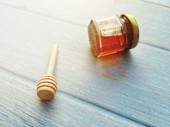 Jar Honey Stick Attractions❤️ Color Selective Focus Object Glass Dipper Wood - Material Table Close-up Wooden Preserves Post
