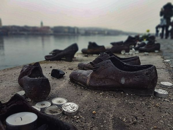 #travel #budapest #hungary #travelphotography Sadness Memorial Historic Danube #bridge Memory History Memories River Beach Sand Sea Close-up Outdoors