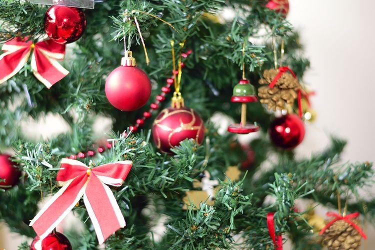 Christmas Decorations Hanging On Tree