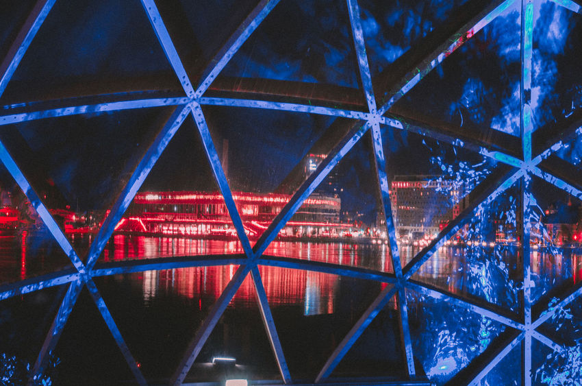 Aarhus, Denmark Light Reflcetions Reflection Architecture Blue Built Structure Depth Dokk1 Dome Illuminated Leaves Night No People Red Red Color Triangle Shape Triangles Water Windows