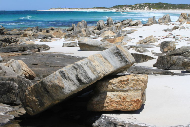 An awesome remote beach with great rock formations and colour contrasts Beach Beauty In Nature Cape Arid National Park Day Horizon Over Water Nature No People Outdoors Pebble Beach Rock - Object Rocks Rocks And Water Rocks On The Shore Sand Scenics Sea Vacations Water Wave Western Australia Beaches White Sandy Beach