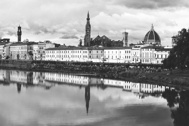 View Of Florence From River Arno Monochrome Black And White Black & White River Arno Firenze Florence Italy The Best City In The World Italy Landscape City View  Reflection Cloud - Sky Water Architecture Travel Destinations Sky Building Exterior City Cityscape Day Urban Skyline No People Outdoors