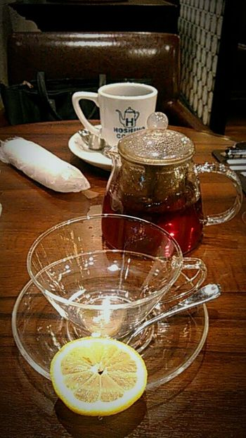 ティータイム。Liquid Lunch 京都 Kyoto Tea Teapot TeaCup Glass - Material Tea Time Cafe 喫茶店 喫茶 Lemon Tea