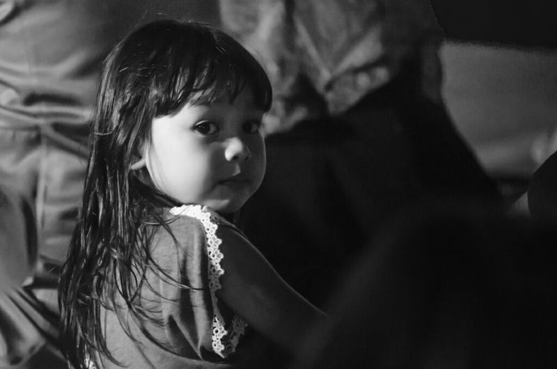 Glimpse of Innocence Kid Girl Street Photography Portrait Of Innocence Light And Shadow Black And White Portrait Portrait Learn & Shoot: After Dark