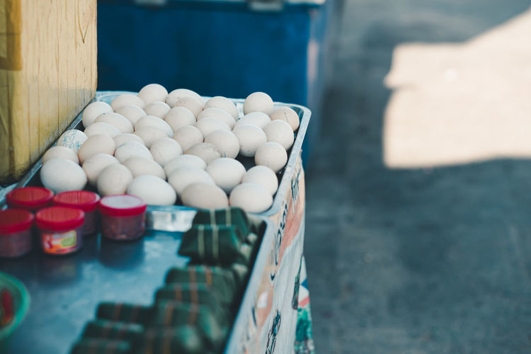 High angle view of egg in the market