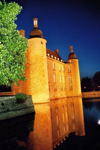 Building Exterior Architecture Built Structure No People Illuminated Tower History Tree Outdoors Sky Clock Tower Night Moonlight France 🇫🇷 Castle Fontains Architecture Beauty In Nature EyeEmNewHere