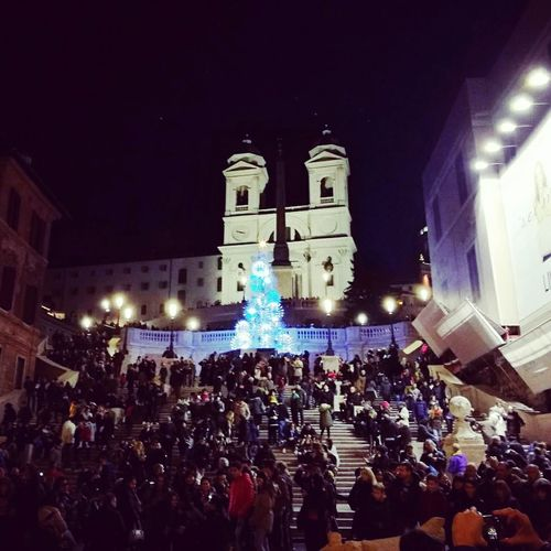 Piazza di Spagna Large Group Of People Night Illuminated City Crowd Celebration People Outdoors Popular Music Concert Men Adult Adults Only Architecture