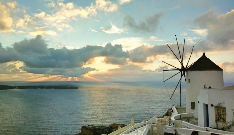 || Nature Theories || Santorini, Greece. TheFoneFanatic Nokia  Nokia808 Vacations Mobilephotography PhonePhotography Scenics Colorful Windmill Traditional Windmill Sea Sunset Tranquil Scene Seascape
