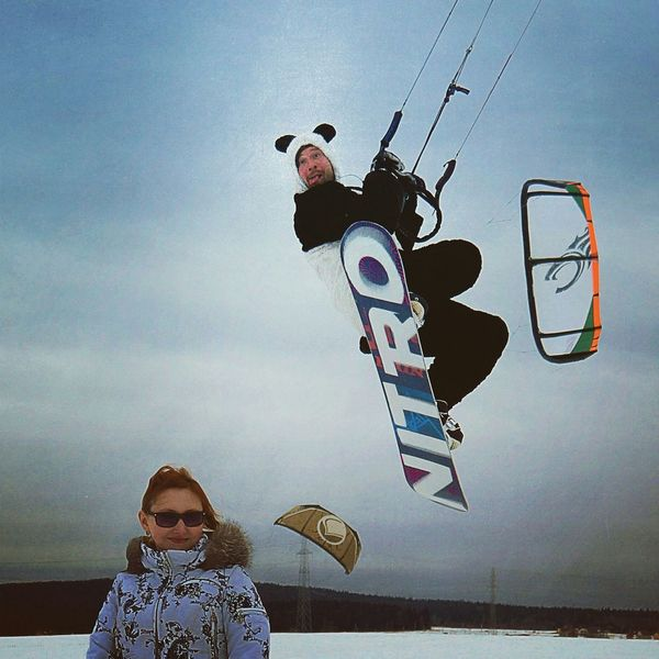 Snowkiting Kite Snowboarding Spring Panda Taking Photos Jamp!