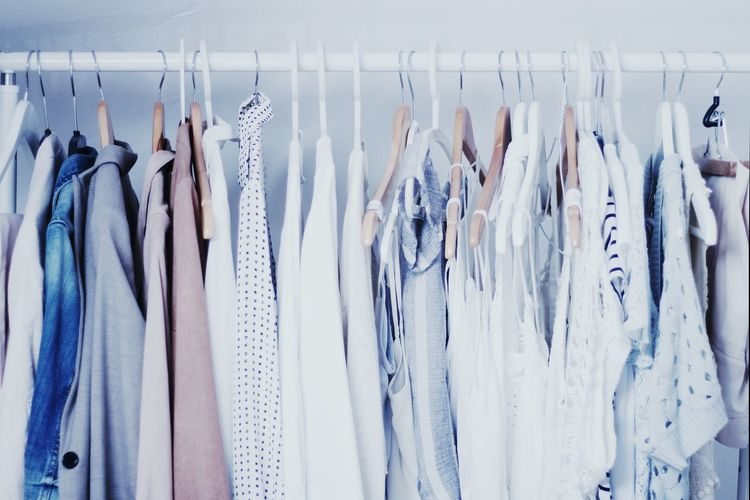 Close-up of clothes hanging at home