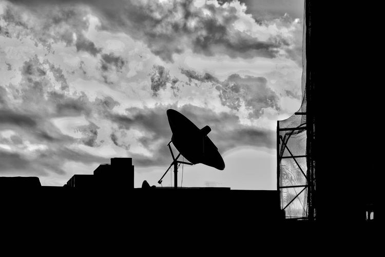 Comminication Satalite Dish Blackandwhite Silhouette Communication Wireless Technology Bird Sky Architecture Built Structure Building Exterior Cloud - Sky Television Aerial Antenna - Aerial Broadcasting Telecommunications Equipment Radio Wave Communications Tower