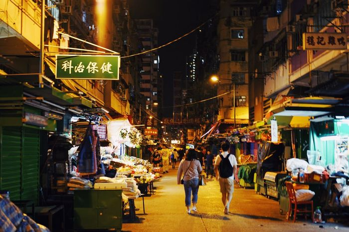 Hong Kong City Building Exterior Architecture City Life Built Structure Illuminated Backgrounds Copy Space Nightlife Leisure Activity Shopping Time Street Night Travel Destinations Market Outdoors Large Group Of People Cityscape Real People Women Men Neon Food People Adult