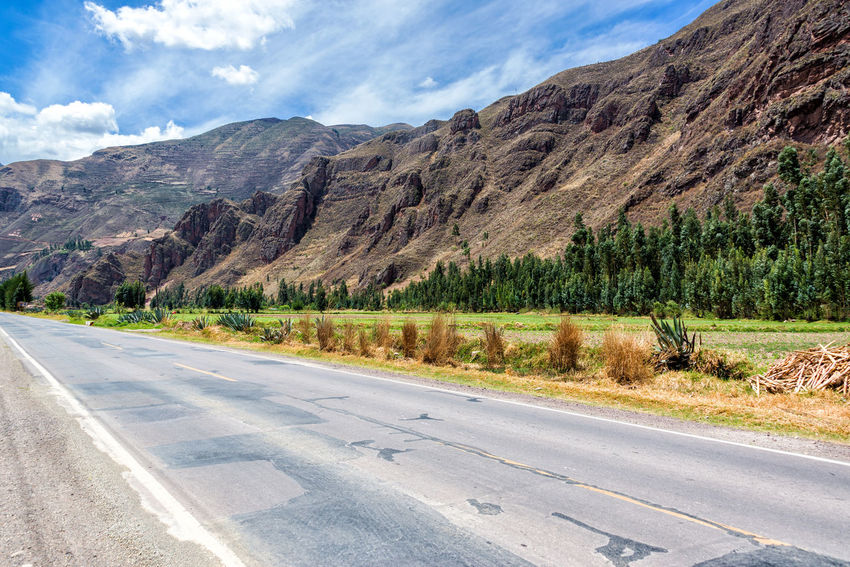 View of a road and the Sacred Valley near Pisac, Peru Ancient Andes Cusco Destination Famous Inca Landmark Landscape Lost Mountain Outdoors Peru Pisac Pisac Perú Ruin Ruins Sacred Valley Sacred Valley - Peru Stone Terrace Tourism Trail Travel Urubamba Valley