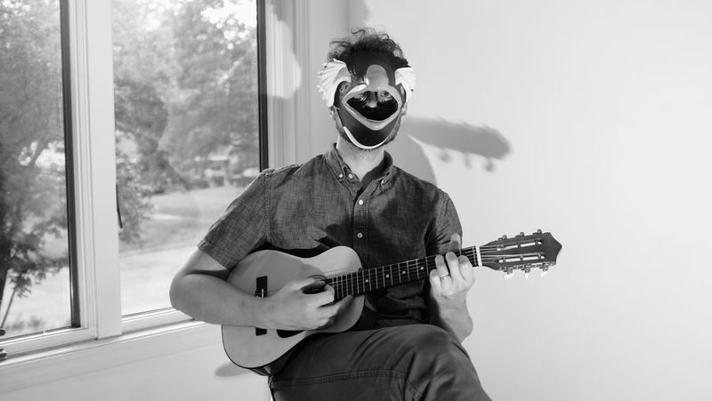 EyeEm Selects Guitar One Person One Man Only Adults Only Adult People Portrait Music Musical Instrument Musician Plucking An Instrument Rock Musician Mask Eyemphotography EyeEmNewHere Bnw_captures Blackandwhitephoto Bnw_photography Real People Bnw Bnwportrait Bnwportraits