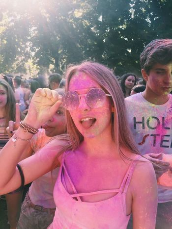 HOLI Leisure Activity Holi Outdoors Fun Day Pink Color Happiness Celebration Lifestyles Smiling Tree Real People Young Women Togetherness Young Adult Powder Paint Friendship People Adult Adults Only Colori Photo Photographing Colors Fotografia -CM