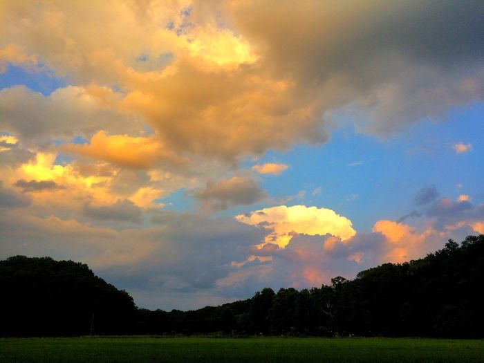 Cloudy sunset Sky Cloud - Sky Field Nature Tree Beauty In Nature Landscape No People Grass Sunset Tranquility Scenics Silhouette Outdoors Day Evening Sky Evening Sunset_collection Sunrise_sunsets_aroundworld Sunsets Clouds Landscape_Collection Tranquil Scene Majestic Nature Tranquility