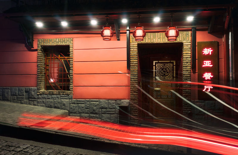 Illuminated Night Architecture City Building Exterior Built Structure Red No People Transportation Lighting Equipment Street Neon Communication Long Exposure Sign City Life Text Travel Destinations Road Light Trail Nightlife