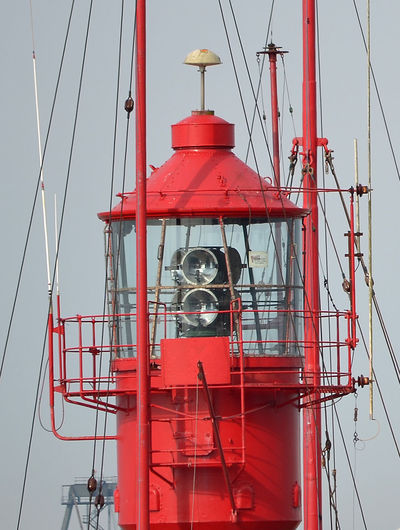 A close-up view of a Trinity House Lightship - Harwich, Essex, UK Sky Architecture Nature Built Structure No People Outdoors Lightship Harwich, Essex Harwich Harbour Trinity House LV Lightships Red Nautical Vessel Mode Of Transportation Transportation Day Low Angle View Tower Water Mast Ship Clear Sky Metal Sailboat Technology