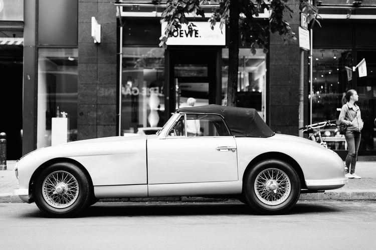 Vintage car on street in city