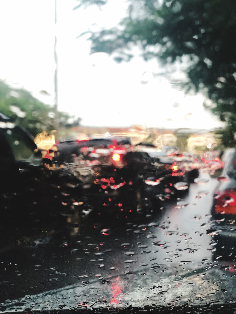 CARS ON WET ROAD DURING RAINY SEASON