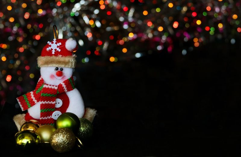 Close-Up Of Snowman With Christmas Trees In Background