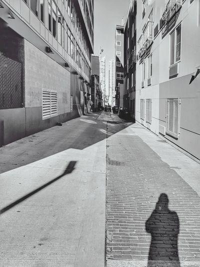 Shadow of buildings in city