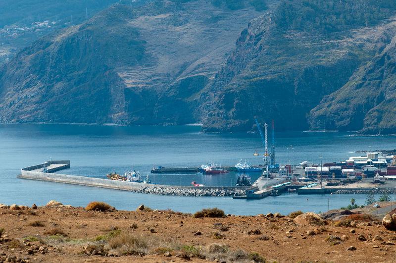 Boats moored at sea
