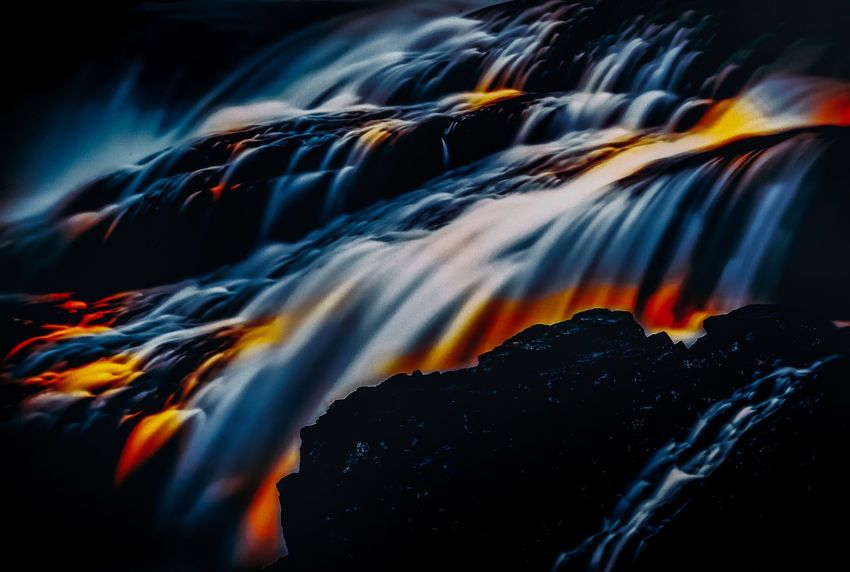 Fire Fall One [Spokane, WA 7.18.18] Waterfall Long Exposure, Photoshop and Lightroom My Artwork My Art Motion Beauty In Nature Nature Scenics - Nature No People Water Blurred Motion Long Exposure Waterfall Flowing Water Outdoors Rock - Object Power In Nature Environment