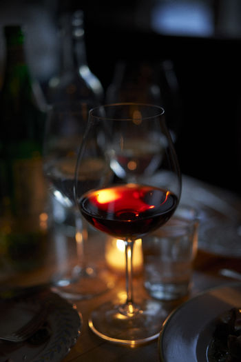 wine light Drink Drinking Glass Food Food And Drink Glass Red Wine Refreshment Still Life Table Transparent Wineglass