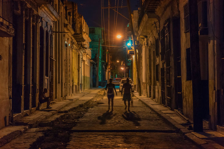 Havana streets Alley City City Life Illuminated Night Outdoors Street Streetphotography Urban