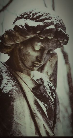 Angel Statue Angel Snow Covered Peaceful Cemetery