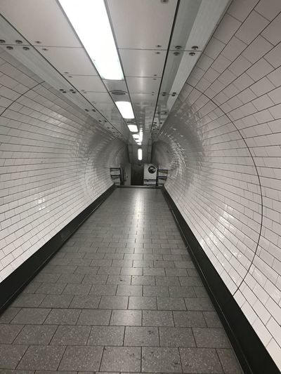 Empty Clean London Underground . White Tiles Unseen London No People Commuting Tunnel